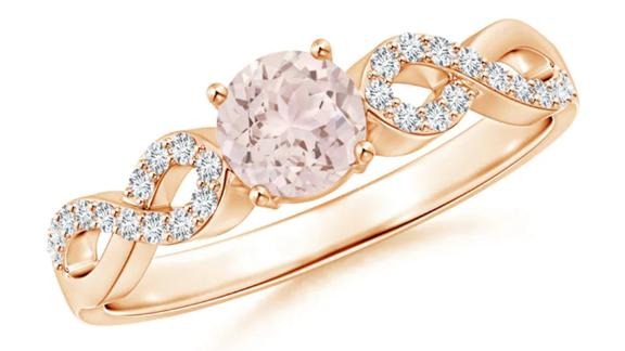 Solitaire Round Morganite Infinity Ring