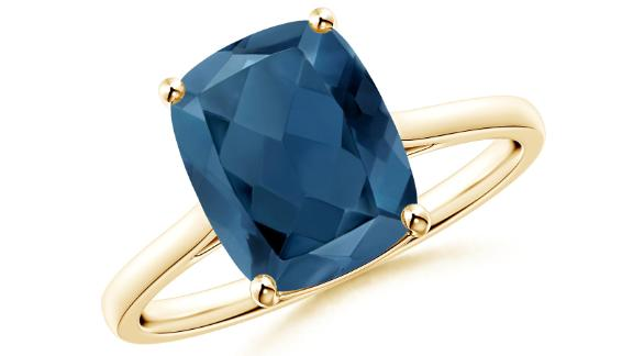 Prong-Set Cushion London Blue Topaz Solitaire Ring
