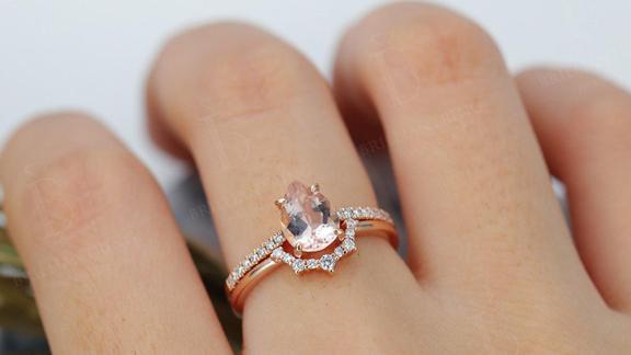 Vintage Morganite Engagement Ring Set