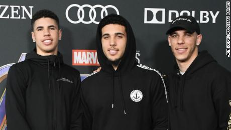 Brothers LaMelo Ball, LiAngelo Ball and Lonzo Ball (left to right) all now have contracts with NBA teams.
