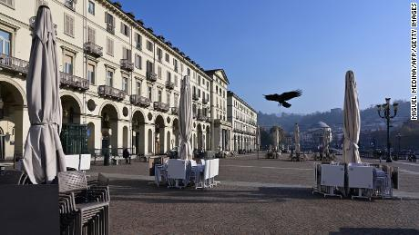 A closed cafe terrace on Piazza Vittorio Veneto in downtown Turin, Italy, in November.