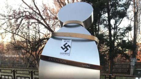 Anne Frank memorial with swastika vandalized