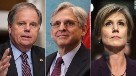 From left: Sen. Doug Jones, Judge Merrick Garland and Sally Yates