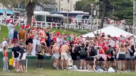 """Witnesses said the crowd at Sydney's Bronte Beach on Christmas afternoon was in its """"hundreds,"""" many of whom were drinking alcohol and not wearing face masks."""
