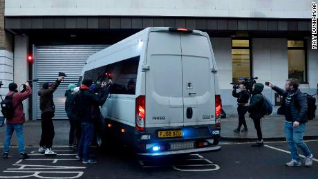 WikiLeaks founder Julian Assange arrives at Westminster Magistrates Court for his bail hearing in London on Wednesday.