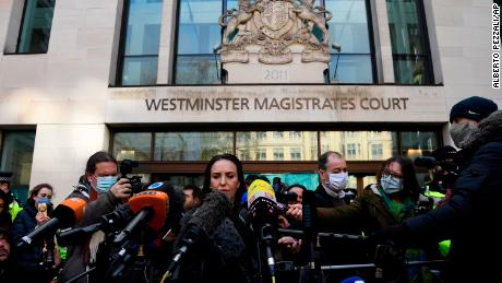 Assange's partner Stella Moris speaks outside Westminster Magistrates Court in London after he was denied bail on Wednesday.