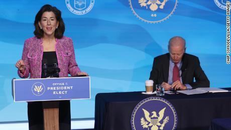 Then-Rhode Island Gov.  Gina Raimondo, at left, remarks after then-president-elect Joe Biden was announced as his commerce secretary of state candidate in Wilmington, Delaware, in January.