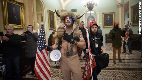 Authorities say Jacob Anthony Chansley was seen at the Capitol shirtless and wearing a horned headdress.
