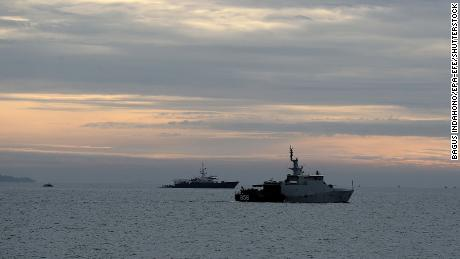 Two Indonesian Navy ships search for Sriwijaya Air plane flight SJ182 on KRI Gilimanuk war ship on January 10, 2021.