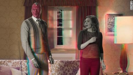 (From left) to Paul Bettany and Elizabeth Olsen & quot;  WandaVision & quot;  Is shown in a sequence of.