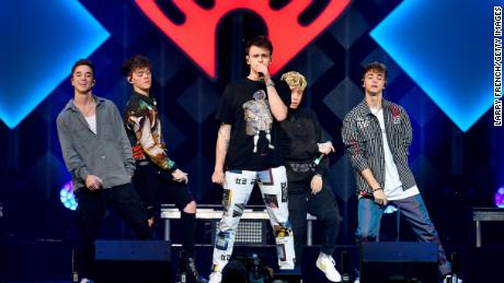 (From left) Daniel Seavey, Zach Herron, Jonah Marais, Jack Avery and Corbyn Besson of Why Don't We perform onstage during HOT 99.5's Jingle Ball 2019 on December 16, 2019, in Washington, DC.