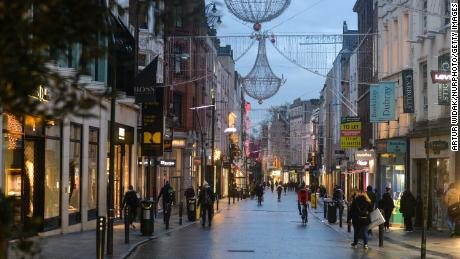 People walked down Grafton Street in Dublin city center on January 6 after lockdown measures were re-imposed.