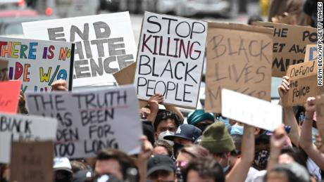 Demonstrators marched in Hollywood, California last June to protest the death of George Floyd.