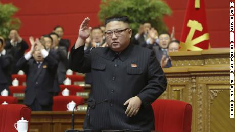 Kim Jong Un is seen at the Workers Party Congress.