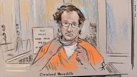 Sketch of Capitol riot suspect Cleveland Meredith at court hearing in January 2021.