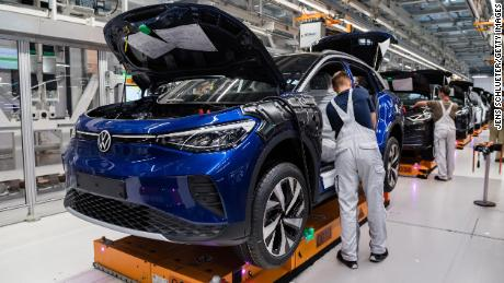 Workers assemble the new ID.4 at a Volkswagen factory in Zwickau, Germany. Motor vehicles were Germany's main export in 2019, according to official figures.