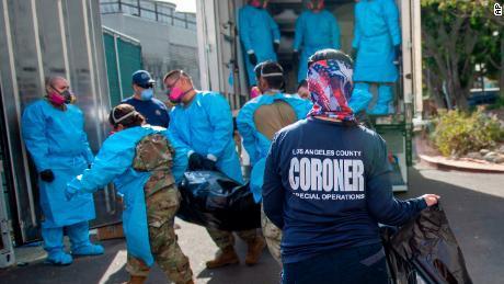 National Guardsmen help process Covid-19 deaths at at LA County Medical Examiner-Coroner Office January 12.