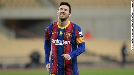 Lionel Messi was shown the first red card of his Barcelona career.