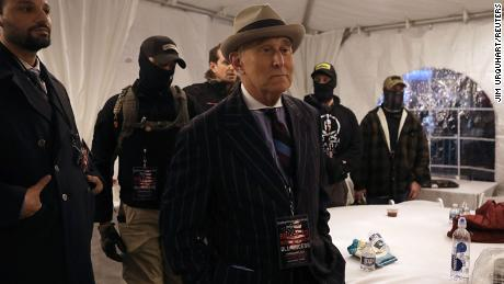 Roger Stone, former adviser to U.S. President Donald Trump, is flanked by security during a rally at Freedom Plaza, ahead of the U.S. Congress certification of the November 2020 election results, during protests in Washington, U.S., January 5, 2021.
