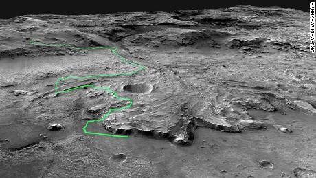 This mosaic of images collected by the Mars Reconnaissance Orbiter shows a possible route the Mars 2020 Perseverance rover could take across Jezero Crater.