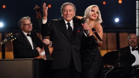 (From left) Tony Bennett and Lady Gaga perform onstage during the 57th Annual Grammy Awards at Staples Center in LA, February 8, 2015.