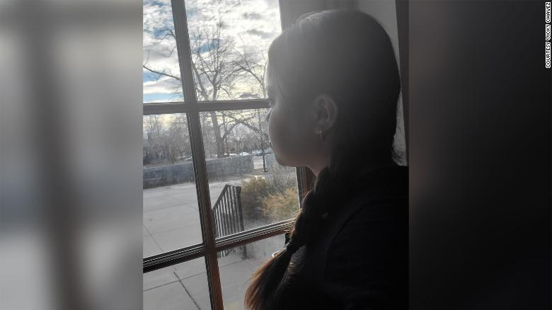 Chávez looks out the window of the First Unitarian Church in Salt Lake City, which she has called home for the past three years.