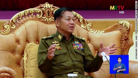 This screengrab provided via AFPTV and taken from a broadcast by Myanmar Radio and Television (MRTV) in Myanmar on February 3, 2021 shows military chief General Min Aung Hlaing in Naypyidaw following the military coup.