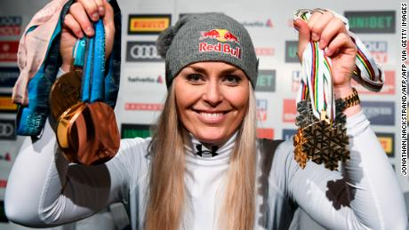 Vonn displays her haul of medals.