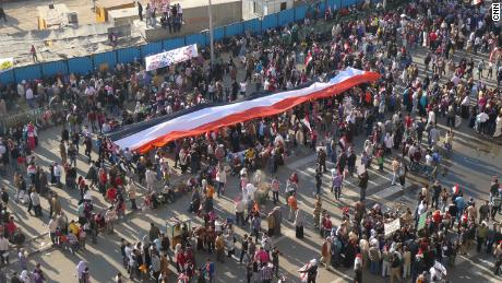 Massive crowds throng Cairo's Tahrir Square during the Arab Spring in February 2011.