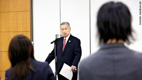 Yoshiro Mori, former chairman of the Tokyo Olympic and Paralympic Games Organizing Committee (TOGOC), talks to reporters on February 4, 2021 at the JOC headquarters in Chou Ward, Tokyo.