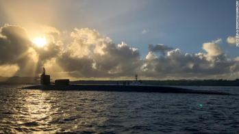 Sailors assigned to theguided-missile submarine USS Ohio transit Apra Harbor on the US Pacific island of Guam earlier this year.