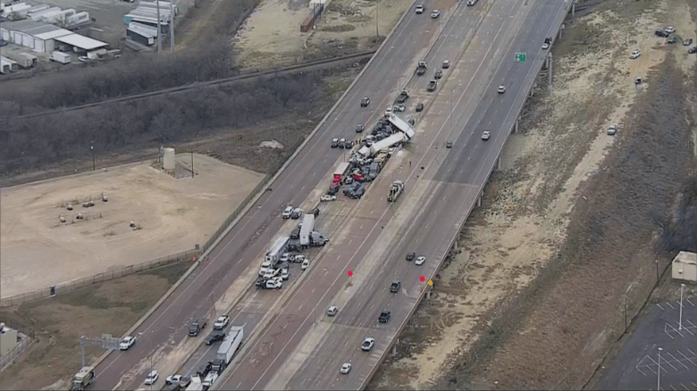 An aerial shot shows the pileup on Interstate 35 West in Fort Worth on Thursday.