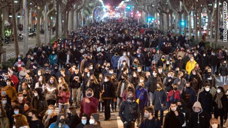 Supporters of the rapper demonstrated in Barcelona on Tuesday, condemning his arrest.