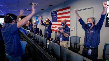 The joy of celebrating a rover landing on Mars