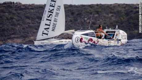 Harrison set a new world record for the youngest female to row solo across any ocean, organizer Atlantic Campaigns said