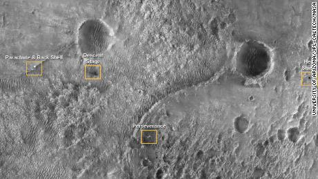 This orbiter image shows several parts of the Mars 2020 mission landing system that the rover found safely on the ground.