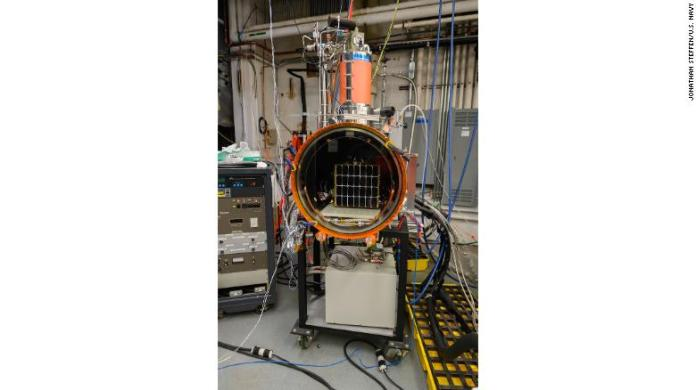 The Photovoltaic Direct Current to Radio Frequency Antenna Module (PRAM) sits inside thermal vacuum chamber during testing at the US Naval Research Laboratory in Washington, DC.