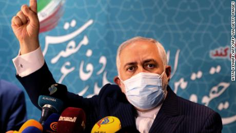 Iranian Foreign Minister Mohammad Javad Zarif speaks during a press conference at the International Conference on the Legal-International Claims of the Holy Defense in the capital Tehran on February 23, 2021.