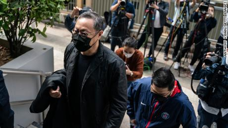 Benny Tai, Associate Professor of Law at the University of Hong Kong and co-founder of the activist group Occupy Central with Love and Peace (OCLP) reports to the Ma On Shan Police Station on February 28 in Hong Kong.