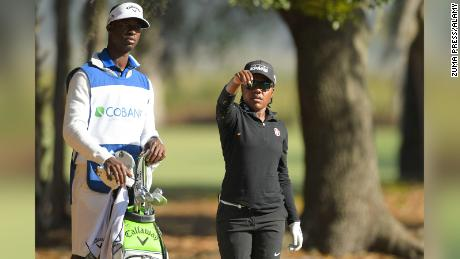 Mariah Stackhouse with Bebe during her rookie year at the second round of the Natural Charity Classic on the Symetra Tour at the Winter Haven Country Club in Florida.