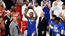 Kawhi Leonard of Team LeBron celebrates with the trophy after being named the Kobe Bryant MVP during the 69th NBA All-Star Game in 2020.