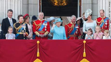 Members of the royal family wave to the public from the balcony of Buckingham Palace