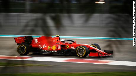 Leclerc driving the Ferrari during the F1 Grand Prix of Abu Dhabi.