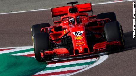 Sainz drives the Scuderia Ferrari 2018-spec SF71H on track during a five-day test at Fiorano Circuit.