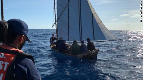 Coast Guard Station Islamorada law enforcement crew interdicts a migrant boat with 7 migrants, Islamorada, Florida, March 2, 2021. The migrants were repatriated to Cuba.