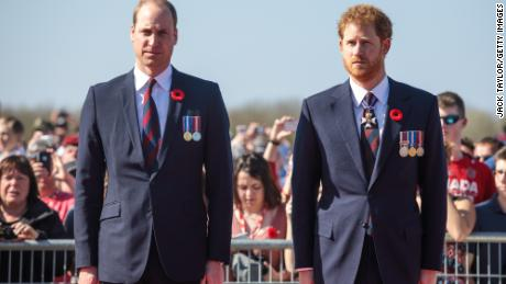 Prince William, Duke of Cambridge and Prince Harry arrive at the Canadian National Vimy Memorial on April 9, 2017 in Vimy, France.