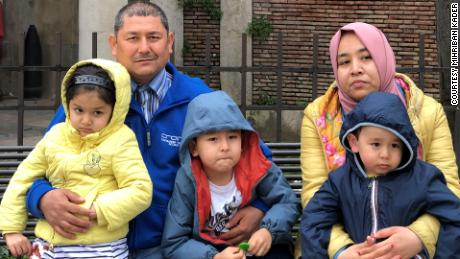 Mihriban Kader, Mamtinin Ablikim and their three younger children in Italy in 2021.