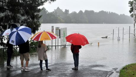 Residents noticed the swollen Nepean River during heavy rain in western Sydney on 20 March.