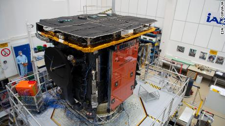 The Solar Orbiter spacecraft during preparations for a vibration test in February 2019.