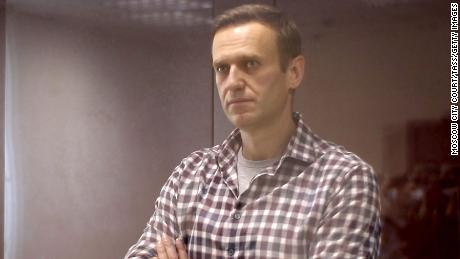 Alexei Navalny during an external hearing of the Moscow City Court on February 20.